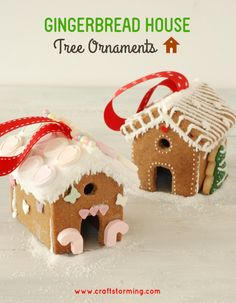 These would work perfectly to decorate place settings for Christmas in July! Thanks Craftstorming! Gingerbread house Tree Ornaments 1