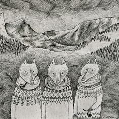 illustration, animal, pipe, sweater, landscape, mountain, naive, pattern, Icelandic foxes Art Print