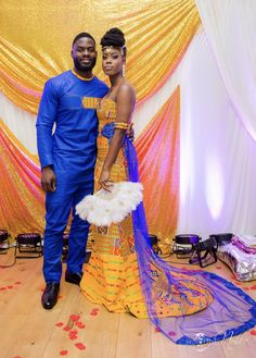 👑 Bride and her beau Makeup by Dress by Photography by Fan by Decor by African Wedding Attire, African Attire, African Dress, African Wear, Ghana Wedding Dress, African Weddings, African Style, African Inspired Fashion, African Print Fashion