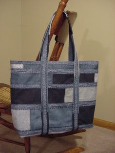 Recycled denim and cotton Boho tote