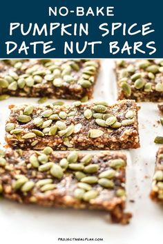 Pumpkin spice life!! My favorite homemade no-bake bar now in a fall version. Naturally sweetened with dates and full of pumpkin seeds! You absolutely must try these No-Bake Pumpkin Spice Date Nut Bars! Yummy Snacks, Healthy Snacks, Delicious Food, Best Dessert Recipes, Fall Recipes, Desserts, Baked Pumpkin, Pumpkin Spice, Date Nut Bars