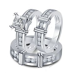 1.3/4CT HIS HERS 3 Pcs WHITE GOLD FINISH IN 925 SILVER ENGAGEMENT RING BAND SET