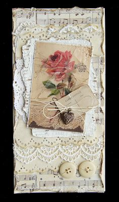 MySweedPlace vintage tag with music, buttons, lace