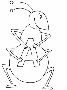 Free Letter A Is For Ant Coloring Page