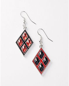 Harley Quinn DC Diamond Bling Dangle Earring - Spencer's