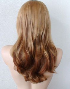 Golden blonde / Auburn Ombre Medium length curly hair long bangs Heat resistant daily use wig, Reverse Balayage, Auburn Balayage, Reverse Ombre Hair, Auburn Ombre, Blonde Ombre Hair, Best Ombre Hair, Balayage Ombré, Strawberry Blonde Hair, Ombre Hair Color