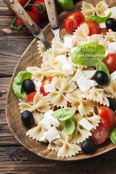 Pic: Salad with cold pasta basil and mozzarella