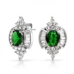 Vintage Oval Green Emerald Color Baguette CZ Stud Earrings