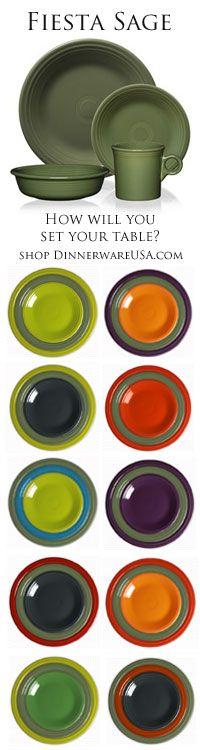 Fiesta Sage - How will you set your table? http://www.dinnerwareusa.com/shop/catalog/handler~event~familySelected~pf_id~13925.htm #FiestaSage #Fiestaware #2015#fiesta #color