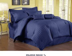 11 Piece Queen Damask Stripe 500 Thread Count Cotton Bed in a Bag Set Navy
