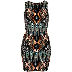 TOPSHOP Petite Tribal Bodycon Dress ($52) ❤ liked on Polyvore