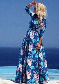 Blue Floral Print 3/4 Sleeve Bohemian Maxi Dress