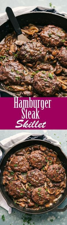 Hamburger Steak is a hearty comfort food that will stand the test of time. Large patties flavored to perfection and covered in a rich onion and mushroom gravy, makes this a delicious dinner choice. #hamburgersteakskillet #skillet #hamburger #hamburgersteak #steak #steakandonions #thefoodcafe #dinner #recipes #food #protein