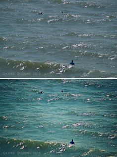 Before & After - Surfer with Dolphins in Atlantic Beach, Florida - Photo Editing by DAVIES DESIGNS