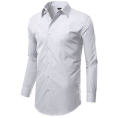 MONDAYSUIT Mens Slim Fit Dress Shirt w/ Reversible Cuff WHITE... ($22) ❤ liked on Polyvore featuring men's fashion, men's clothing, men's shirts, men's dress shirts, men, men wear, tops, mens slim fit dress shirts, mens french cuff shirts and mens slim shirts
