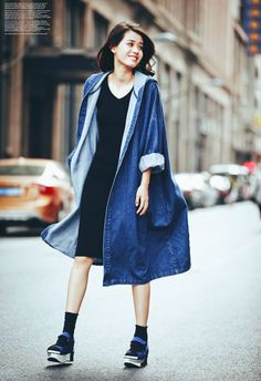 Denim oversized coat jacket. By MOUMOU Taobao