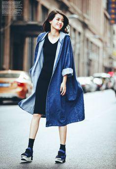 Denim oversized coat jacket. By MOUMOU Taobao