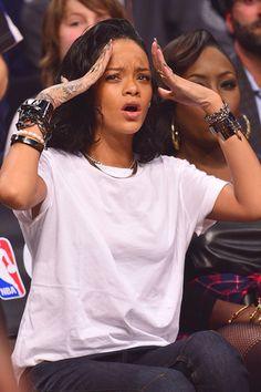 Rihanna at a basketball game in New York.