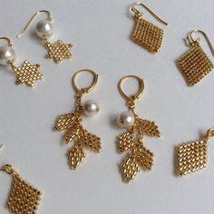 Bead Embroidery Jewelry, Beaded Jewelry Patterns, Beaded Crafts, Jewelry Crafts, Seed Bead Earrings, Beaded Earrings, Earring Tutorial, Bead Jewellery, Creations