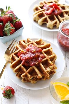 Looking for an all-purpose grain free waffle that tastes like the real deal? You are going to swoon over these almond flour waffles made with an almond flour + coconut flour base topped with a homemade strawberry chia compote! They're paleo, gluten free, and meal-prep friendly!