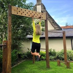 60 diy playground project ideas for backyard landscaping page 33 Backyard Gym, Backyard Obstacle Course, Backyard Playground, Backyard For Kids, Backyard Projects, Outdoor Projects, Backyard Landscaping, Cool Backyard Ideas, Backyard Zipline