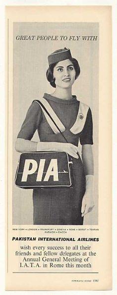 PIA Pakistan Int'l Airlines Stewardess Photo (1963)