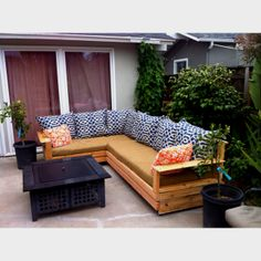 I built this outdoor sectional from upcycled pallets, upcycled foam from a local  upholstery shop for the seat cushions. So the only thing we paid for was fabric and pillows. We love it!!! If you want one let me know.