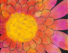 Abstract Flower Painting Pink Orange Yellow Infused WIth Crystal Energy by reJoyce