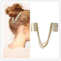 Gold / Pearl Chains Hair Comb