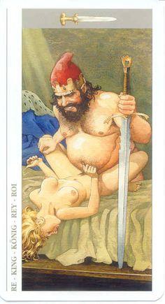 Tarot Card Comparisons: The Manara King Of Swords, Sex And Love, Tarot Decks, Archetypes, Erotic Art, Tarot Cards, Occult, Yahoo Images, Magick