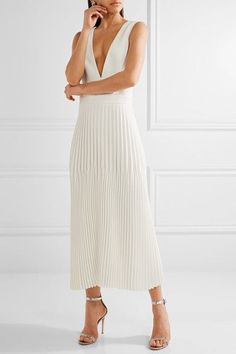 Dion Lee - Pleated Piqué Maxi Dress - Ivory - UK12