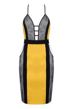 Honey Couture Yellow & Black Mesh Bandage Dress