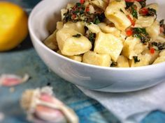 Homemade gnocchi in lemon chilli garlic sauce