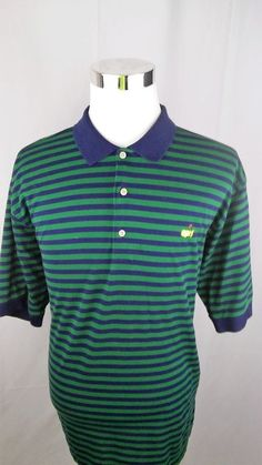 Masters Mens Polo Golf Shirt Striped Shirt Size XL #Masters #Golf #PlayingABetterGolfGame