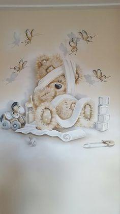 Mooie muurschildering #babyteddybear Mooie muurschildering Teddy Images, Teddy Bear Pictures, Cute Images, Tatty Teddy, Teddy Bear Cakes, Mickey Mouse Wallpaper, Blue Nose Friends, Baby Zimmer, Cute Teddy Bears
