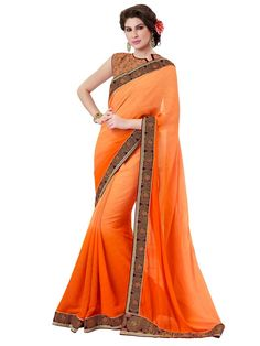 Splendorous Orange Colored Satin Jacquard Saree