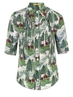 Peter Jensen Bow Collar Scenic Print Shirt at Coggles