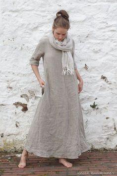 Vestido trapecio de lino natural. Maxi por KnockKnockLinen en Etsy