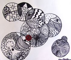 Black & White Drawing Art Project.  Have the kids comeup with different design in each circle.  Divide the larger circles in sections and have the kids make different designs in each. Some could use a splash of one color in their drawing.