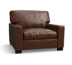 Turner Square Arm Leather Small Armchair 37 Quot Down Blend
