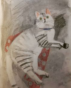 Jacquie Hughes : An old sketchbook cat drawing - Cat Illustrations - Katzen Art And Illustration, Cat Illustrations, Video Chat, Photo Chat, Cat Drawing, Drawing Ideas, Crazy Cats, Animal Drawings, Cat Art