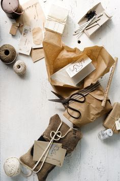 Christmas wrapping with natural materials