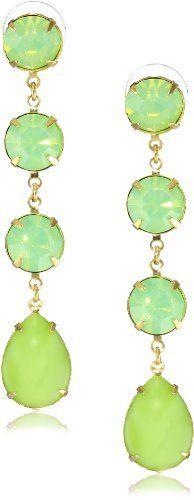 Yochi Mint Green Linear Stone Chandelier Earrings Yochi. $55.00. Post earring. Made in USA