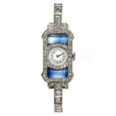 Art Deco Ladies Diamond Sapphire Watch