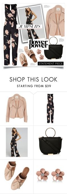 """""""Flower Power - Jumpsuits"""" by iamlaylayyy ❤ liked on Polyvore featuring River Island, Taschka, Allurez, floral, Pink, flowerpower, jumpsuits and Portmans"""