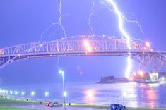 Lightning striking the Bluewater Bridge, between Port Huron, Michigan, and Sarnia, Ontario