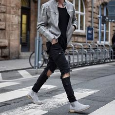 134bd396d0a 9 Best grey chelsea boots men outfit images in 2017 | Man fashion ...