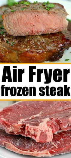 Frozen steak in air fryer directions so it comes out tender and juicy. How to cook frozen Ribeye, T-bone, Filet or Sirloin perfect! #frozensteak #steak #airfryersteak #airfryerfrozensteak #ninjafoodisteak Brunch Recipes, Easy Dinner Recipes, Seafood Recipes, Beef Recipes, Easy Meals, Cooking Recipes, Easy Recipes, Cook Frozen Steak, How To Cook Steak