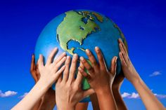 hands on the world
