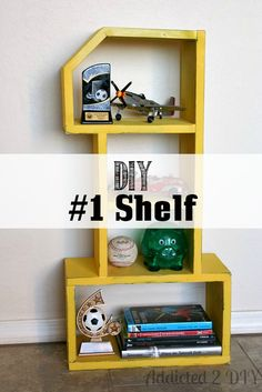 DIY #1 Shelf | Addicted 2 DIY  Perfect project for a #boysroom.  @gliddenpaint makes painting it easy. #ad